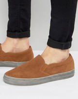Asos Slip On Sneakers in Tan Faux Suede With Distressed Sole