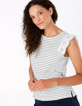 Marks and Spencer Pure Cotton Striped Straight Fit Vest