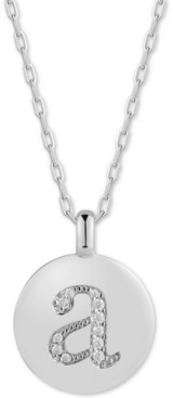 """CHARMBAR Swarovski Zirconia Initial Reversible Charm Pendant Necklace in Sterling Silver, Adjustable 16""""-20"""""""