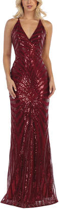 Royal Queen Women's Special Occasion Dresses Burgundy - Burgundy Sequin Stripe Cross-Back Gown & Shawl - Women