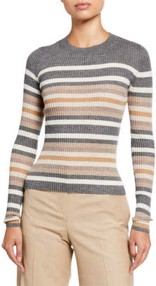 Theory Regal Cashmere Striped Crewneck Sweater
