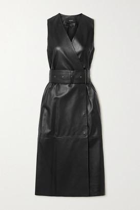 Joseph Dibo Belted Leather Wrap Dress - Black