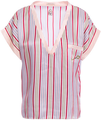 Morgan Lane Yeva Embroidered Striped Satin Pajama Top