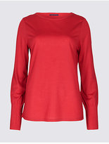 M&S Collection Pleat Detail Round Neck Long Sleeve T-Shirt