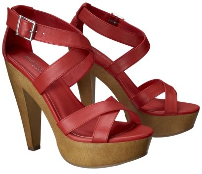 Mossimo Women's Wandy Wood Heeled Strappy Sandal - Red