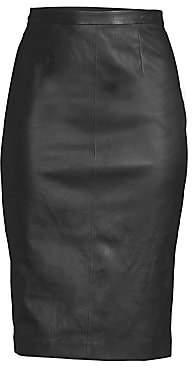 St. John Women's Leather Pencil Skirt