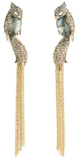 Alexis Bittar Crystal Encrusted Lovebird Tassel Clip Earrings