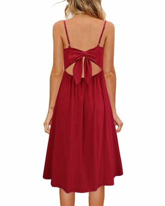 OUGES Womens Summer Dress Backless Adjustable Spaghetti Strap Tie Back Plain Sundress(Black S)