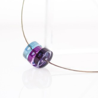 Block Silver Three Bead 40cm Necklace of Colors Blue Purple and Grey