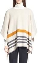 Chloé Stripe Side Tie Felted Wool & Cashmere Poncho