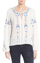 Parker Persimmon Embroidered Peasant Blouse