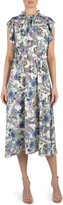 Julia Jordan Floral High Neck Ruffle Sleeve Dress