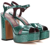 Marc Jacobs Debbie Glitter Patent Leather Platform Sandals