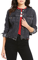 Levi's s Raw Hem Seamed Crop Trucker Denim Jacket