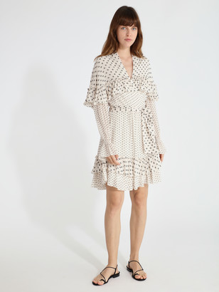 Diane von Furstenberg Martina Silk Chiffon Ruffle Mini Dress