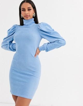 Asos Design DESIGN high neck puff sleeve dress in cord-Blue