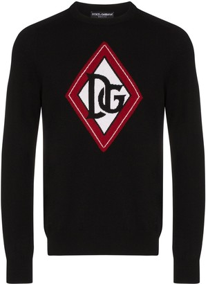 Dolce & Gabbana Diamond Logo Intarsia Knit Jumper