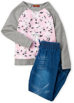 7 For All Mankind Toddler Girls) Two-Piece Floral Raglan Top & Denim Jogger Pants Set