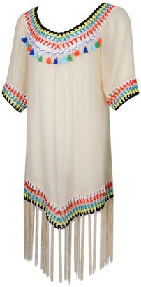 kowaku Bohemian Tassels Sheer Cotton Bikini Cover Ups Crotchet Hem Beach Wear Dress - Beige as described
