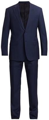 Giorgio Armani Micro Plaid Wool Single-Breasted Suit