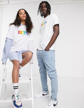 Asos DESIGN x glaad& unisex t-shirt with unity logo in white