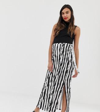Asos DESIGN Maternity wrap maxi skirt in mono stripe print