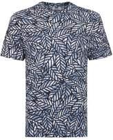 Topman Navy Multi Leaf Print T-Shirt