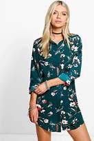 boohoo Mary Long Sleeve Floral Shirt Dress emerald