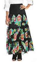 John Mark Floral Applique Tiered Maxi Skirt