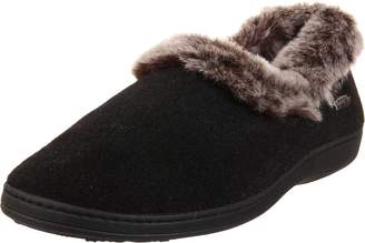 Acorn Women's Chinchilla Collar Slipper Black Large 8-9 M US