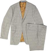 English Laundry Brown Tartan Slim Fit Pattern Suit Jacket & Pants