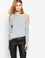 Daisy Street Cold Shoulder Lightweight Knit Sweater
