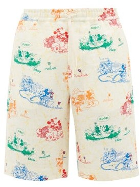 Gucci Mickey Mouse-print Linen Shorts - Mens - White Multi