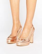 Terry De Havilland Luna Blush Leather Peeptoe Platform Heeled Shoes