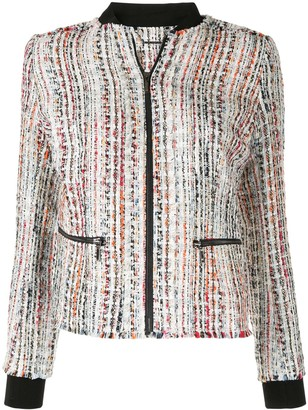 Elie Tahari Brooke frayed tweed jacket