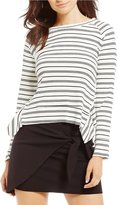 GB Striped Rib Knit Ruffle Sweater
