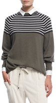 Brunello Cucinelli Striped 2-Ply Cashmere Crewneck Top