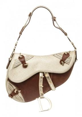 Christian Dior Saddle Gold Leather Handbags