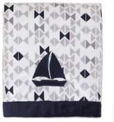 Nautica Mix & Match Velboa Sailboat Blanket in Navy/Grey