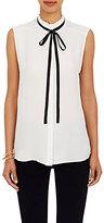 Frame Women's Ruffle Neck Blouse-WHITE