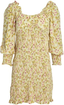 Faithfull The Brand Gombardy Shirred Floral Mini Dress