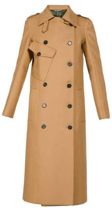 Rochas Double Breasted Wool Blend Trench Coat - Womens - Beige