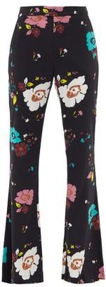 La DoubleJ Saturday Night Floral-print Flared Trousers - Black Multi