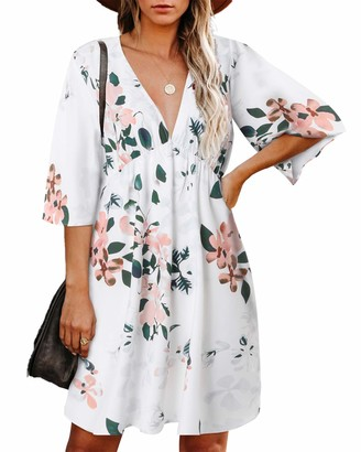 Zanzea High Quality Street Fashion Zanzea Women Short Sleeve V Neck Mini Beach Dress Casual Loose Floral Print Aline Summer Dress M-White 14