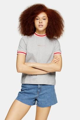Calvin Klein Womens Grey Cuff Neck T-Shirt By White