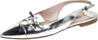 Miu Miu Silver Patent Leather Pointed Toe Slingback Flat Slides Size 36.5