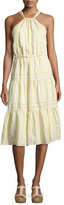 Rebecca Taylor Sleeveless Halter Crinkled Midi Dress, Yellow White Multi