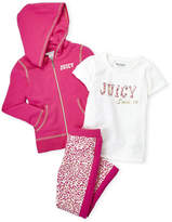 Juicy Couture Girls 4-6x) 3-Piece Zip-Up Hoodie & Leopard Leggings Set