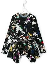 Roberto Cavalli paint splatter bird dress