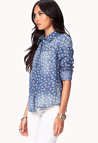 Forever 21 Life In ProgressTM Floral Denim Shirt